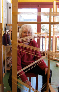 photo of student winding warp